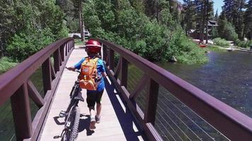 A boy rides his mountain bike across a bridge in the woods. video
