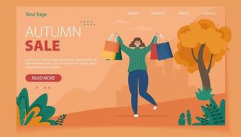 Happy woman with shopping bags Autumn sale concept vector