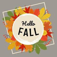 Hello fall banner with autumn colorful leaves in flat hand drawn style vector