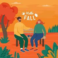 Love couple sitting on bench in autumn vector