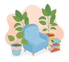 sweet home sofa potted plants books decoration vector