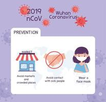 virus covid 19 prevention infographic avoid markets and crowded places, not handshake, wearing medical mask vector