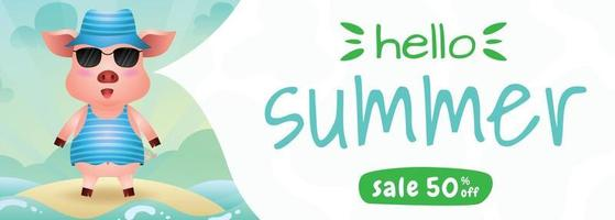 summer sale banner with a cute pig using summer costume vector