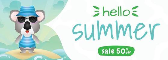 summer sale banner with a cute koala using summer costume vector