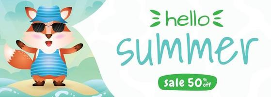 summer sale banner with a cute fox using summer costume vector