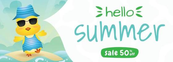 summer sale banner with a cute chick using summer costume vector