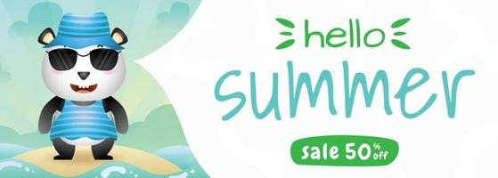 summer sale banner with a cute panda using summer costume vector