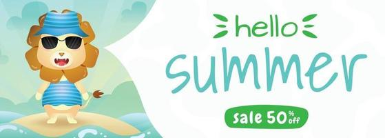 summer sale banner with a cute lion using summer costume vector