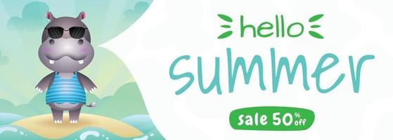 summer sale banner with a cute hippo using summer costume vector