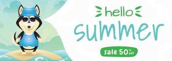 summer sale banner with a cute husky dog using summer costume vector