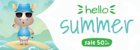 summer sale banner with a cute rhino using summer costume vector