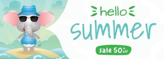 summer sale banner with a cute elephant using summer costume vector