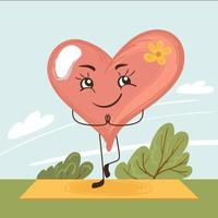 Happy cartoon heart doing yoga, meditation in nature. Emotional calmness. Vector hand drawn illustration