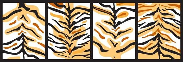Set of backgrounds of tiger stripes and orange spots. Vector abstract collage of predator skins.