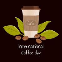 Postcard to international coffee day. Hand drawn vector illustration of paper coffee mug and roasted beans