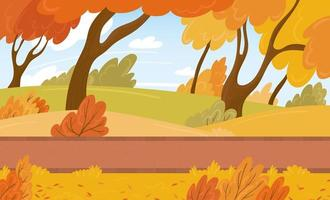 A bright autumn city park with a walking path among trees and bushes. Vector background with fallen leaves