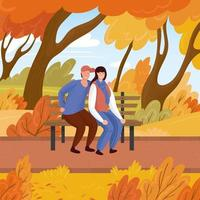 Date in the fall. A loving couple of young guy and a girl on a bench in the park in autumn. Hand drawn vector illustration