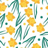 seamless floral pattern with daffodils, green leaves and circles. Hand drawn yellow flowers vector background