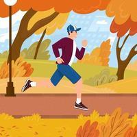 joven corre en un parque de la ciudad en otoño. el chico está haciendo cardio al aire libre en el paisaje de otoño. dibujado a mano ilustración vectorial vector