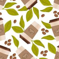 Seamless pattern paper cup of coffee and roasted grains, decorated with juicy leaves. Hand drawn vector background