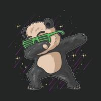 lindo pequeño panda con gafas dabbing dance celebración ilustración vector