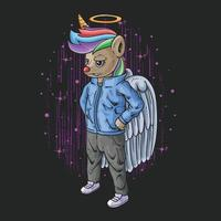 cool little angel unicorn illustration vector