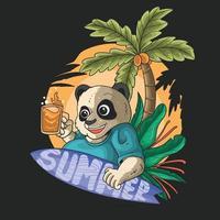 cute panda summer surfing tropical beach illustration vector
