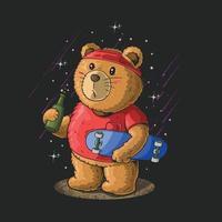 cute little bear drink beer and play skateboard illustration vector