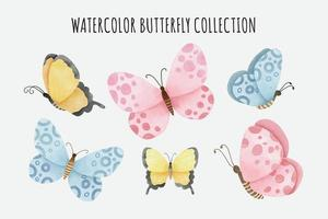 Cute Watercolor Butterfly Collection vector