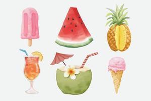 Watercolor Summer Elements Set vector