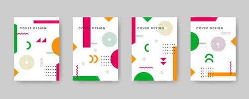 Minimal covers design. Modern background with abstract texture for use element poster, placard, catalog, banner, flyer, etc. Multicolor shapes with memphis style. Future geometric patterns. vector
