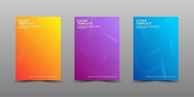 Minimal covers design. Modern background with abstract texture for use element poster, placard, catalog, banner, flyer, etc. Multicolor halftone with waves layer style. Future geometric patterns. vector