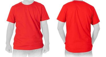 Blank Red T-shirt on white background photo