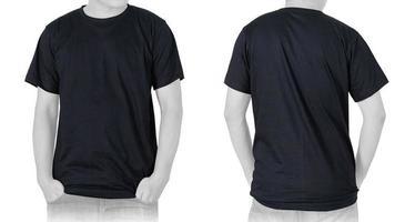 Blank Black T-shirt on white background photo