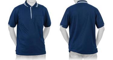 Blank Blue Polo shirt on white background photo
