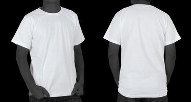 Blank White T-shirt on black background photo