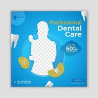 Dentist and dental care social media square banner template vector