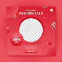 Exclusive sale promo square banner social media post template vector