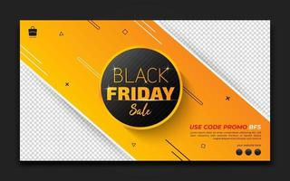 Yellow style horizontal banner for black Friday template, Special offer banner. Sale and discount backgrounds. Vector illustration.