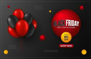 Horizontal Black Friday banner promotion with balloons, Special offer banner. Sale and discount backgrounds. Vector illustration.