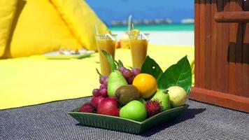 Close up detail of a fruit plate at a picnic on a tropical island beach. video