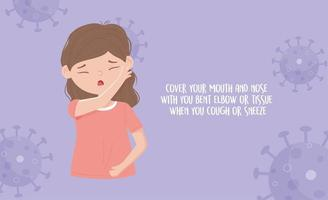 Prevención de la pandemia de covid 19, cúbrase la boca con tos o estornudo vector