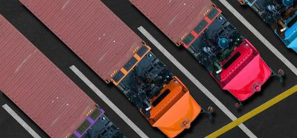 Aerial top view of trucks in parking lot photo