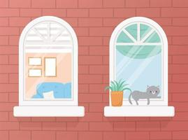 stay at home quarantine, windows sofa cat plant cartoon design vector