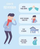 covid 19 pandemic infographic, practical prevention tips to avoid contagion vector