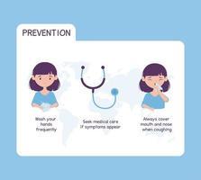virus covid 19 prevención atención médica lavarse las manos con frecuencia, buscar atención médica si aparecen síntomas vector