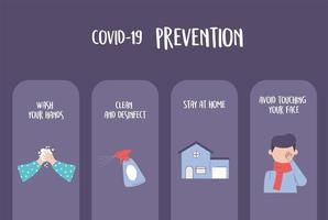 covid 19 pandemic infographic, prevention washing hands, clean, stay home and avoid touching face vector