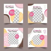 Ice Cream Social Media Post Template Set vector
