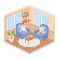 dulce hogar sofás sillones cojines plantas mesa con libros sobre alfombra sala de estar estilo isométrico vector