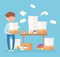 Escritorio de papeles de empleado preocupado con hojas de carpetas de estrés de oficina vector